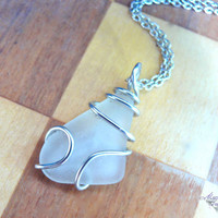 Sea Glass Necklace - wire wrapped white seaglass, Hawaiian jewelry for beach brides by Mermaid Tears Hawaii
