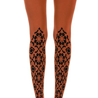 Diamond Flowers Print Tights Orange - Zohara - Free Shipping