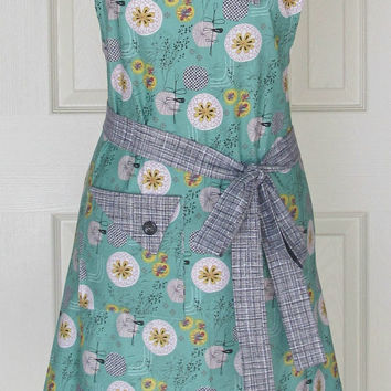 Teal Floral Apron / Floral Medallions / Women's Retro Style Full Apron / Eclectasie