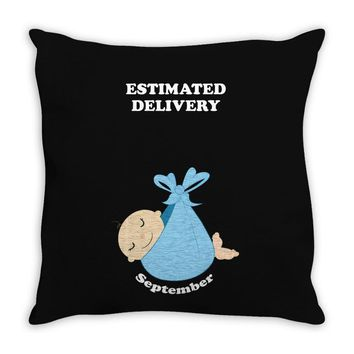 Estimated Delivery September Baby Boy Throw Pillow