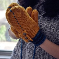 FunShop Patchwork Mitten Gloves with Rivets Detail for Women D1126