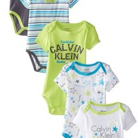 Calvin Klein Baby Boys Newborn 5 Pa Creepers Lime and Blue Group