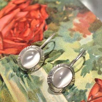 Moonstone Earrings Native American Southwestern Western Sterling Silver Kidney Wire Safety Catch Backs Artisan Hand Crafted Earrings