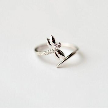 Personality New Fashion Small Fresh Simple Crystal 925 Sterling Silver Jewelry Dragonfly Opening Ring    SR93