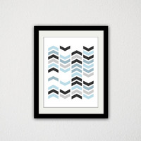 "Geometric Chevron Poster. Gradient. Blue and Gray. Tribal. Minimalist. Simple. Trendy. Custom Colors. Wall Art. Home Decor. 8.5x11"" Print."