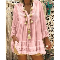 Spring, summer, autumn and winter new lace stitching long-sleeved loose large size shirt women's shirt