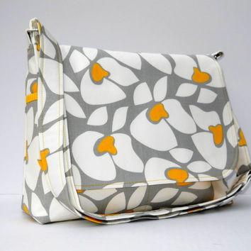 Women's Messenger Bag Purse  Yellow Gray and by JHFabricCreations