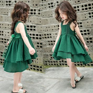 2018 European Style Princess Girl Dress Patchwork Baby Girls 100%Cotton Lace Clothing Summer 3 corlor Sleeveless Mermaid Dress