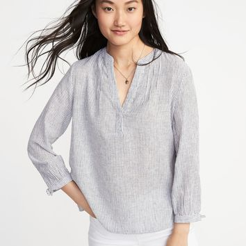 Relaxed Tie-Cuff Linen-Blend Top for Women |old-navy