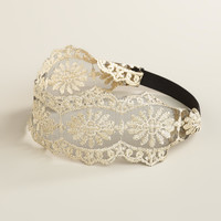 Wide Ivory Lace Elastic Headband - World Market