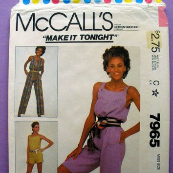 Misses' Jumpsuit Misses' Size Medium 14 - 16 McCall's 7965 Sewing Pattern Uncut