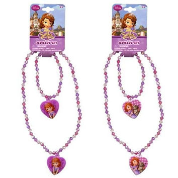 Disney Princess Sofia the First Girls Heart Charm Necklace and Bracelet Set - Assorted Styles (1 Set)