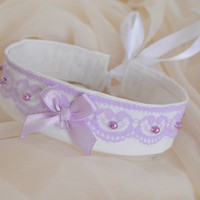 Blooming lavender - fairy kei kawaii cute neko princess lolita kitten pet play collar - lilac and white