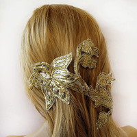 Gold and Silver  Fascinator, Vintage Embroidery ,  Bridal Hair Clip, Jewel, Wedding Hair Accessories
