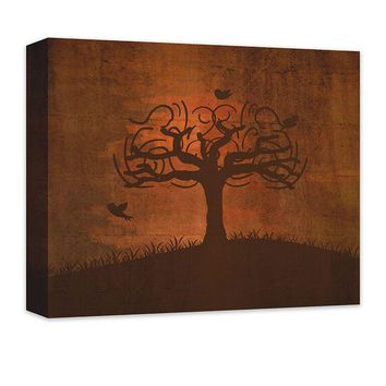 Birds in Whimsical Tree Canvas Wall Art