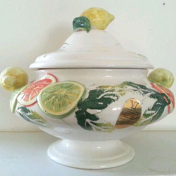 Italian Ceramic Citrus Covered Bowl Centerpiece Footed Tureen Jay Willfred