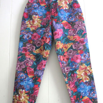 Vintage 90s Floral Flowers High Waisted Tapered Leg Mom Jeans Denim Cotton 26""