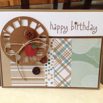 Handmade Happy Birthday Greeting Card, Unisex but Great for a Guy, Man, Boy, Friend, Father, Son, Retro, Scrapbook Paper, Viewmaster Reel