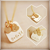 14k Gold Filled Initial Tag - Personalize Initial Necklace , Couple's Necklace , Personalized Necklace - Wedding Date Necklace