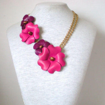 Magenta Pink & Royal Purple Floral by RetroRevivalBoutique on Etsy