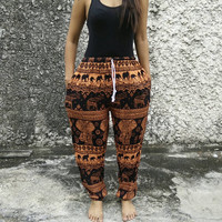 Elephant print Yoga Exercise Pants Baggy Boho hobo Style Print Hippies Gypsy Plus Size Rayon Aladdin Clothing Beach Summer Harem Chic Orange