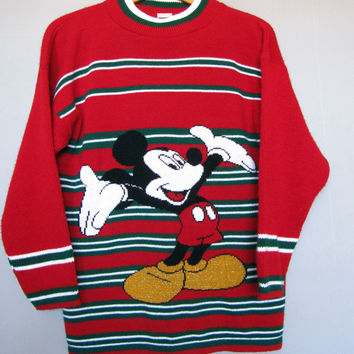 Vintage Mickey Mouse Sweater Red Green White Unlimited M Medium