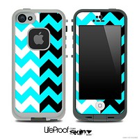 Two Toned Chevron Pattern Turquoise Skin for the iPhone 5 or 4/4s LifeProof Case