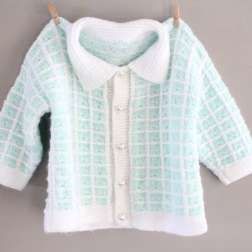 Hand Knitted Baby Toddler Cardigan Pastel Green Pearl Heart Button Baby Shower Gift Handmade Cardigan Baby Sweater Size 12 to 24 months