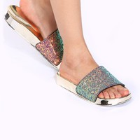 Multi Glitter Faux Patent Slide Sandals @ Cicihot Sandals Shoes online store sale:Sandals,Thong Sandals,Women's Sandals,Dress Sandals,Summer Shoes,Spring Shoes,Wooden Sandal,Ladies Sandals,Girls Sandals,Evening Dress Shoes