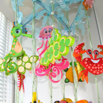 Baby crib mobile Baby mobile Crib mobile Nursery Mobile Fish Mobile Quilled Mobile Baby boy mobile Kids mobile Nursery decor Sea Mobile
