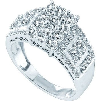 Diamond Ladies Fashion Ring in 14k White Gold 1 ctw