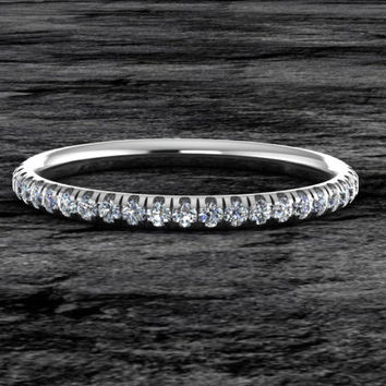 Diamond Wedding Band Comfort Fit 14k White Gold Half Eternity Matching Band Diamond Set
