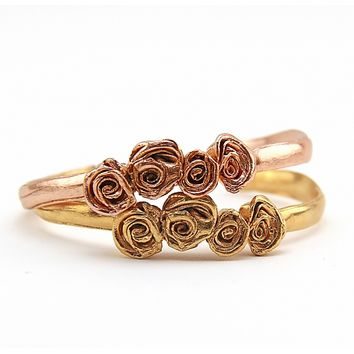 Mr. Kate | Victoria 4-Roses Cuff. Yellow or Rose Gold.