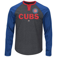Chicago Cubs Majestic Long Sleeve 2 Button T Shirt Big and Tall Sizes w/ Priority Shipping