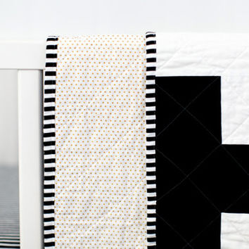 Black and White Plus Quilt, Plus Crib Quilt, Black and White Crib Quilt, Modern Crib Quilt, Modern Plus Quilt