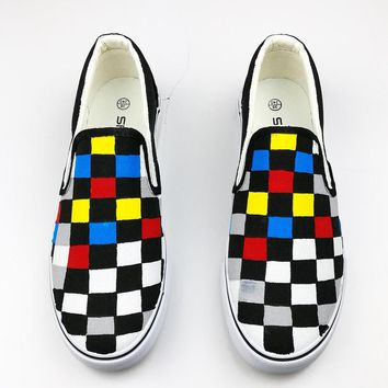 Color Checkered Low Help Women Shoes Summer Slip-On Flat Hand-Painted Canvas Shoes Gg