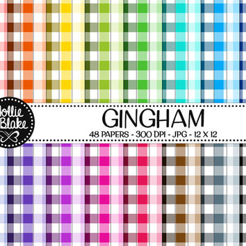 50% OFF! 48 Gingham Digital Paper • Rainbow Digital Paper • Commercial Use • Instant Download • #GINGHAM-101