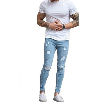 New Distressed Ripped Jeans Men 2018 Fashion Hole Frayed Denim Pants Streetwear Mens Stretch Skinny Trousers Jeans Homme 3XL