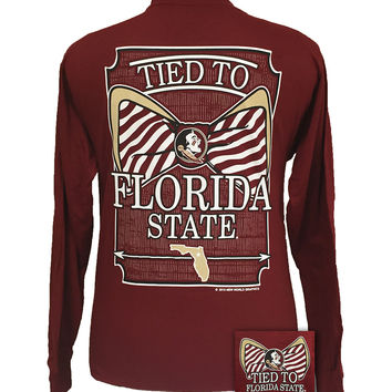SALE FSU Florida State Seminoles Tied To Big Bow Long Sleeve T-Shirt