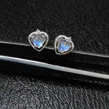 natural blue moonstone earrings 925 silver Natural gemstone earring women romantic elegant fashion heart Earrings for party