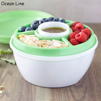 Portable Double Layer Bowl With Dressing Sauce Salad Kit Lunch Box For Easy Storage And Stay Fresh Plastic Food Containers