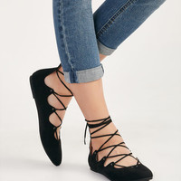 Faux Suede Lace-Up Flats | Wet Seal
