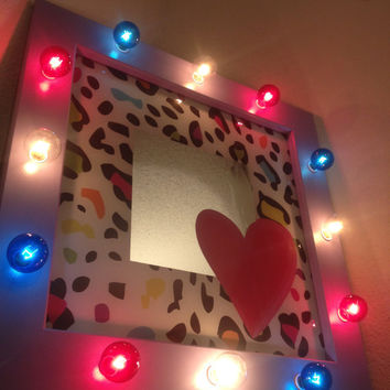 Rainbow leopard print heart mirror. Wooden frame, painted purple, G40 colored light bulbs INCLUDED!!Wonderful gift for Mother's Day!