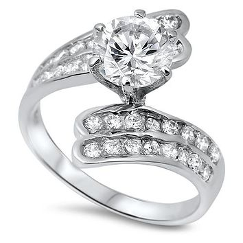 Asymmetrical 2CT Round Cut Russian Lab Diamond Bypass Engagement Ring