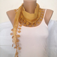 Yellow Scarf - Floral Lace Scarf - Yellow Cotton Lace  Scarf - Summer Scarf  Shawl-  Women Gift - Scarf