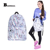 BAGSMALL 3D Printing Backpack For Girls Unicorn School Bag For Teenagers Women Backpacks Female Travel Daypack