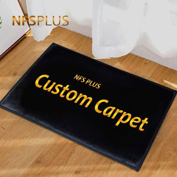 Custom Mat Decorative Door Mat Entrance Doormat Flannel Velvet Printed Anti-Slip Kitchen Floor Mat Bathroom Carpet Area Rug