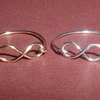 "INFINITY RINGS SET,   handcrafted in sterling silver & 14kt gold filled "" 20 gauge "" jewelry wire"