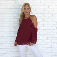 Exclusive Ruffle Blouse in Burgundy