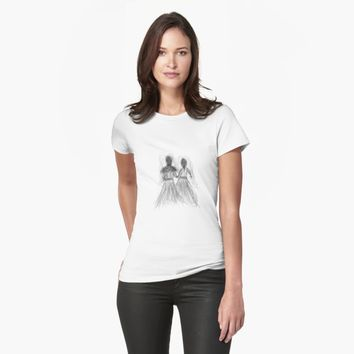 """'""""etching 09 - two brides"""" Apple Pencil drawing' T-Shirt by BillOwenArt"""